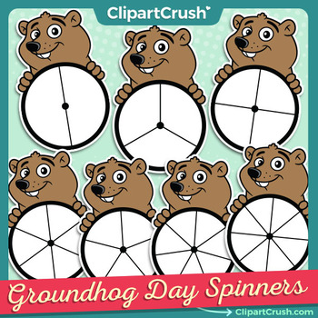 Cute day spinners game. Groundhog clipart tomorrow