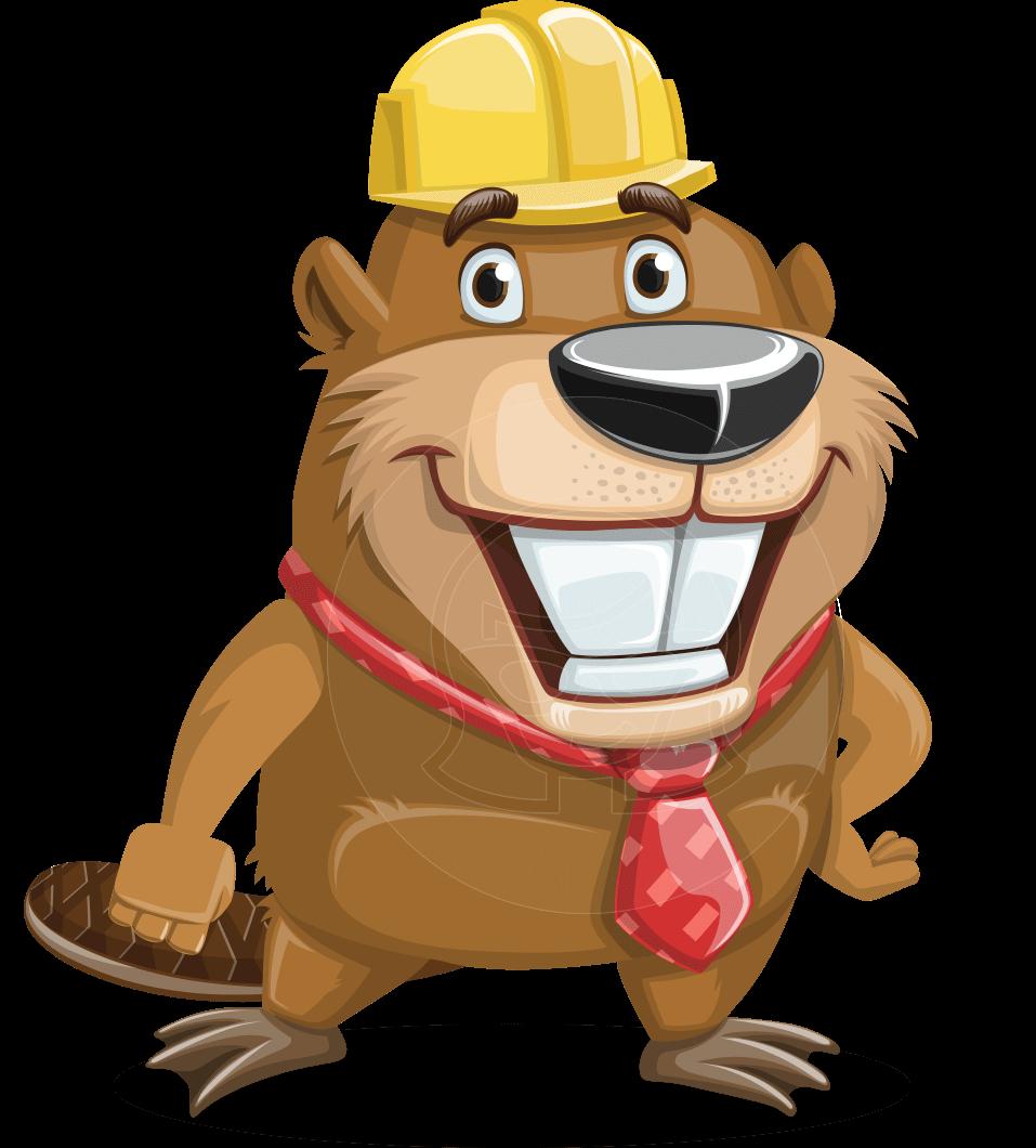 Beaver cartoon character bent. Groundhog clipart vector