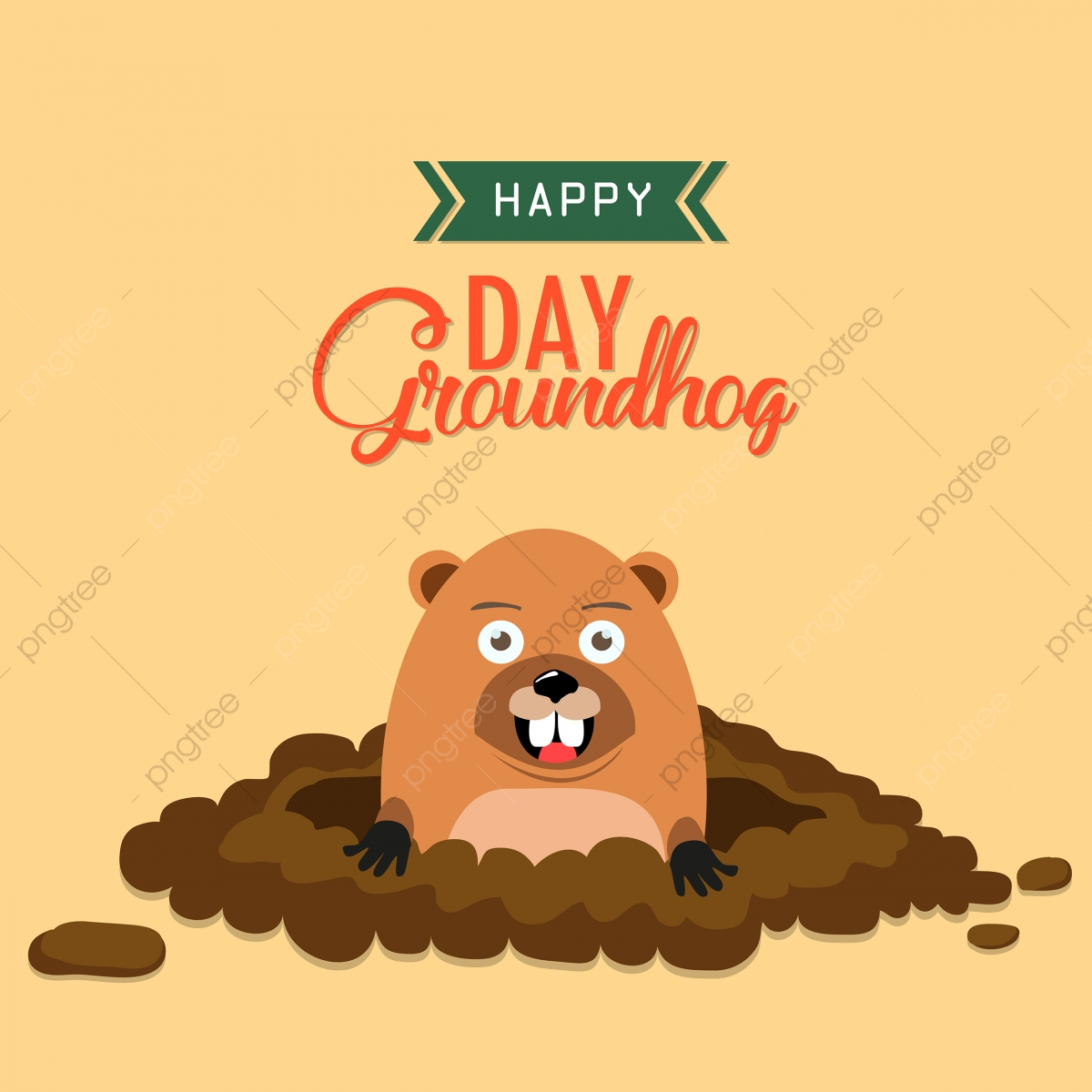 Groundhog clipart vector. Day animal beaver brown