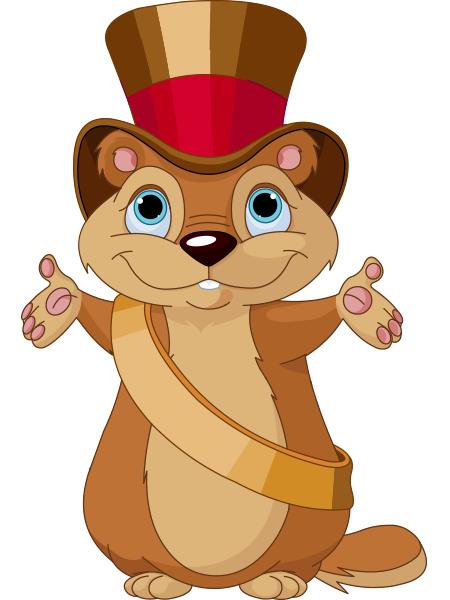 Top hat facebook symbols. Groundhog clipart vector