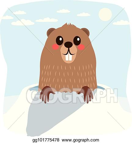 Vector art drawing gg. Groundhog clipart winter