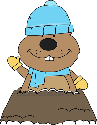 Printable magnets or scrap. Groundhog clipart winter
