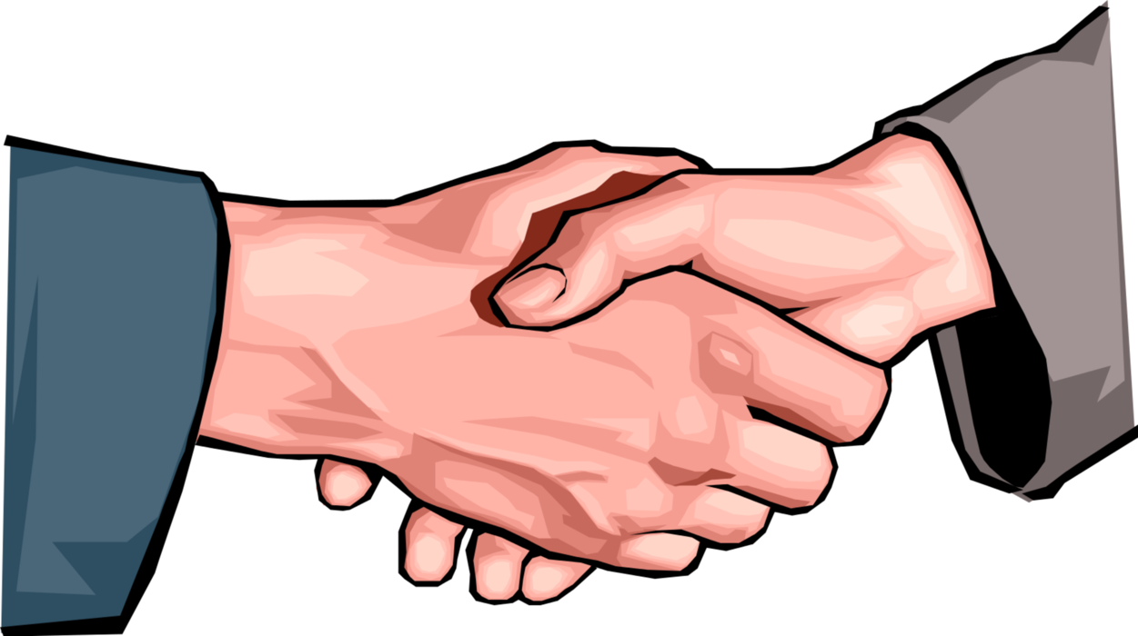 Associates shake hands in. Handshake clipart greeting