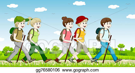 Stock illustration a hiking. Hiker clipart walking group
