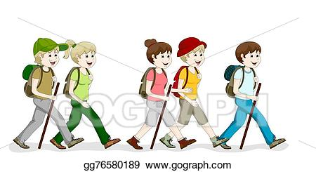 Hiker clipart walking group. Stock illustration a hiking