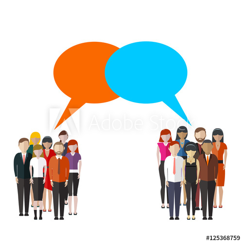 Group clipart two. Opinion poll flat illustration