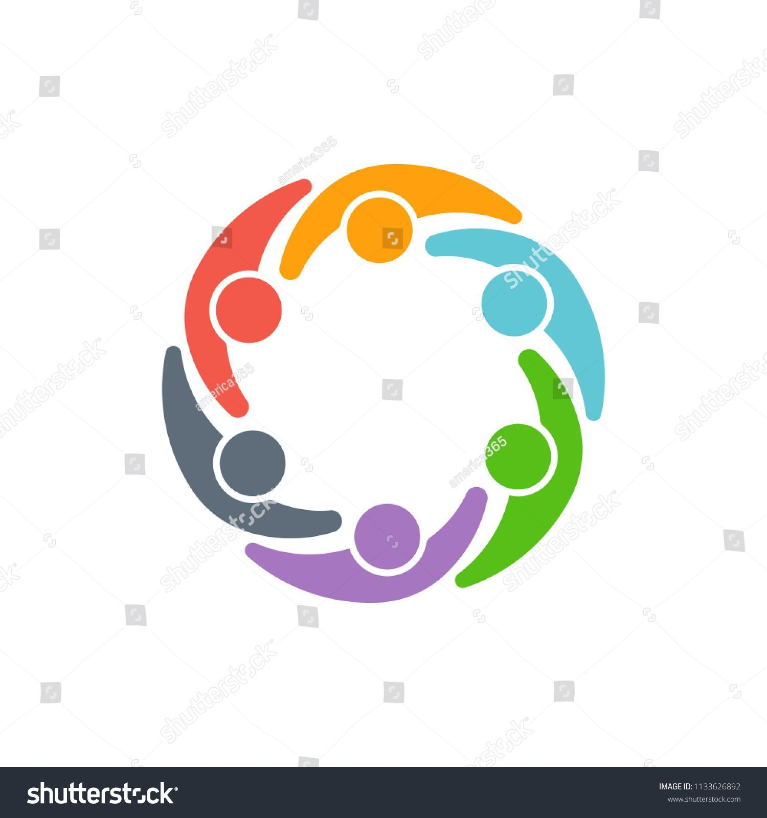 People logo vector design. Teamwork clipart person connected