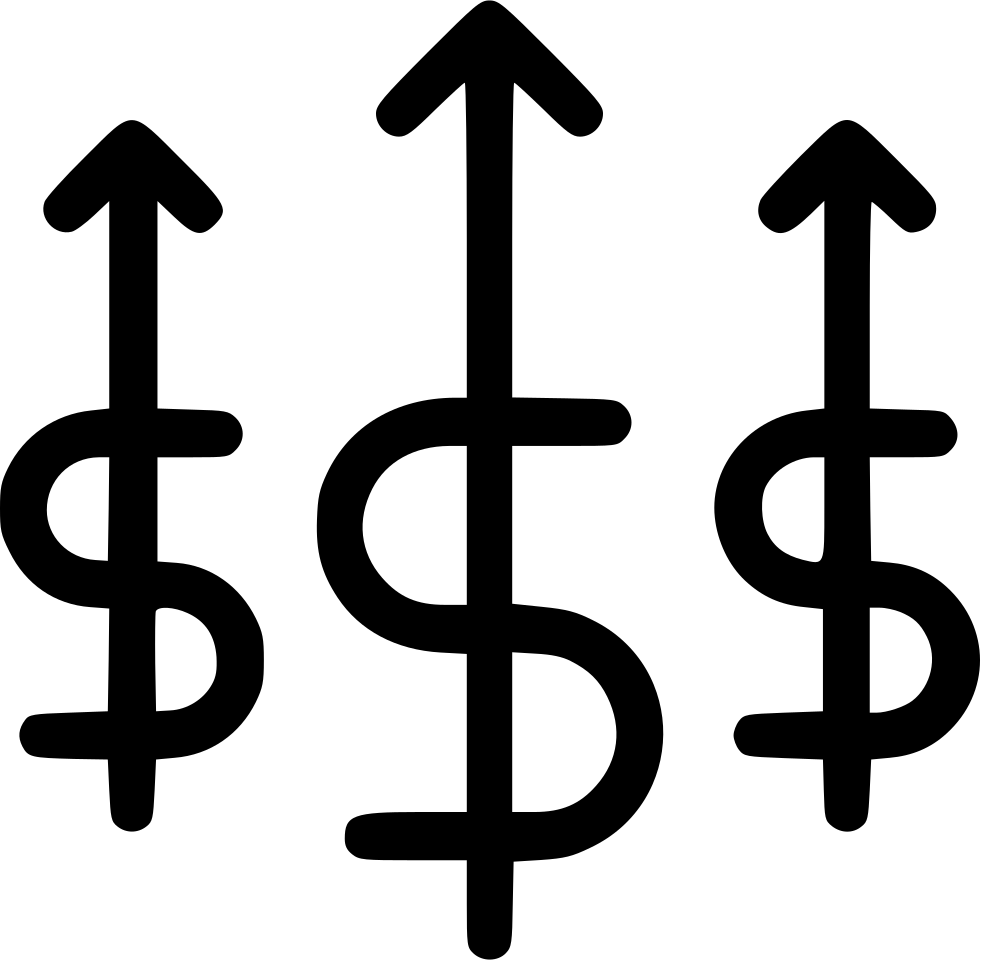 Cash money income increase. Growth clipart profit chart
