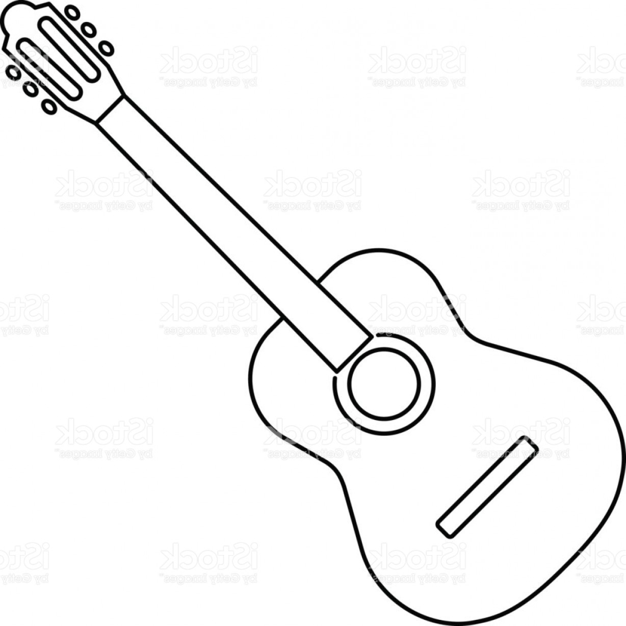 Guitar clipart simple. Acoustic line drawing at