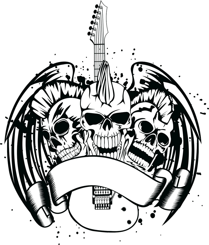 Guitar clipart skull. Royalty free illustration with