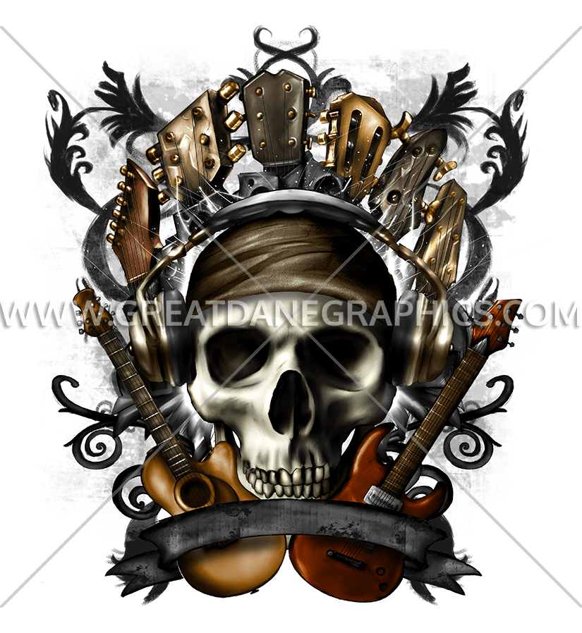 Guitars production ready artwork. Guitar clipart skull
