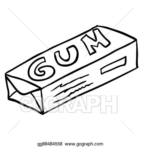 Gum clipart. Vector stock black and