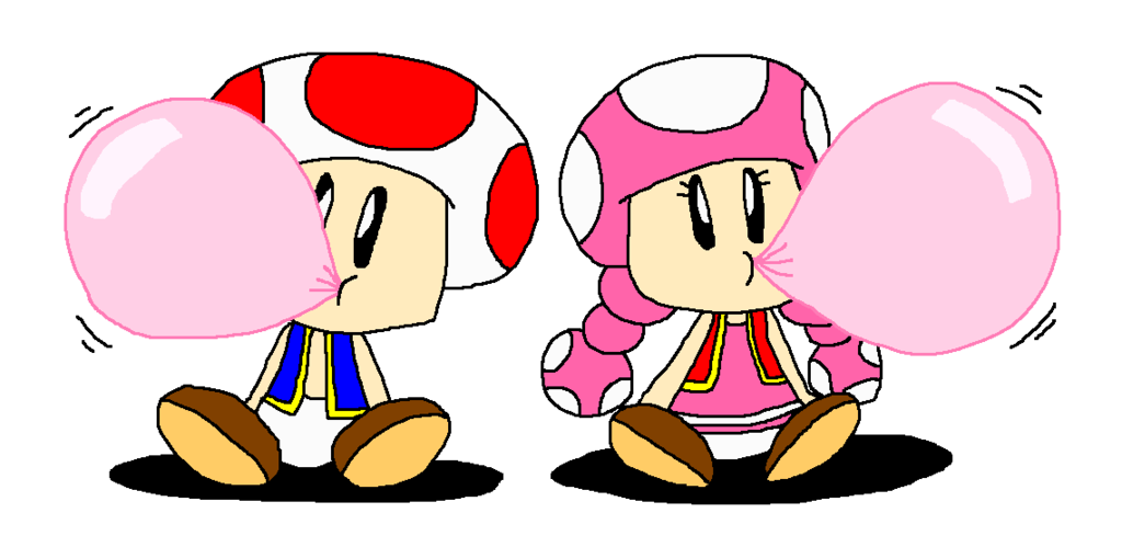 Gum clipart blue pack. Toad and toadette got