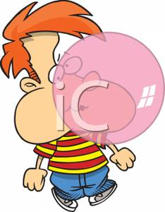Gum clipart child. A kid blowing bubble