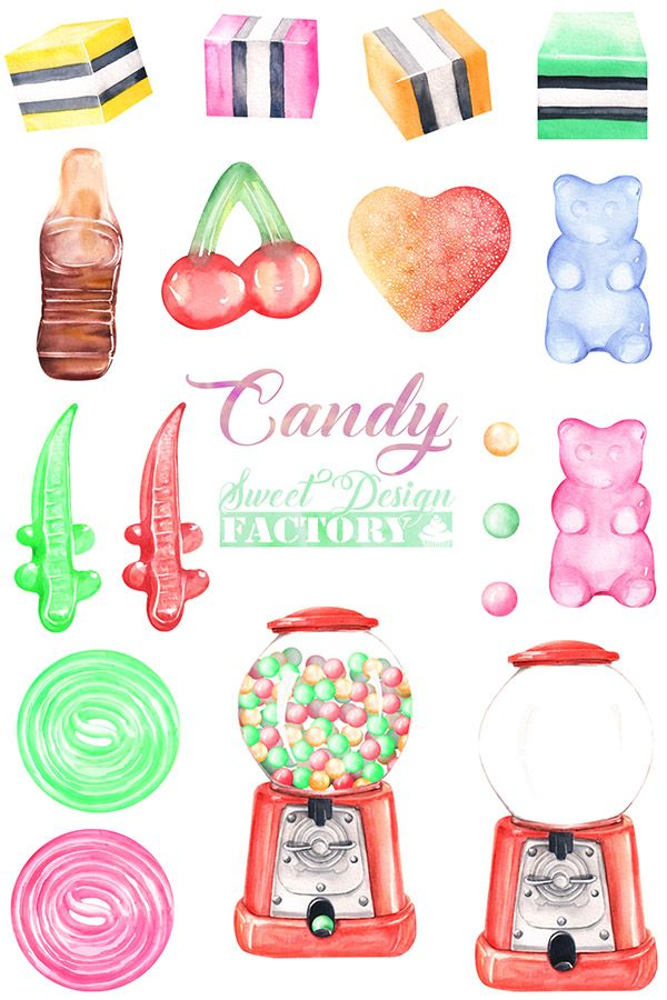 Watercolor clip art . Jelly clipart colorful candy