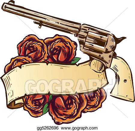 Stock illustration and roses. Guns clipart banner