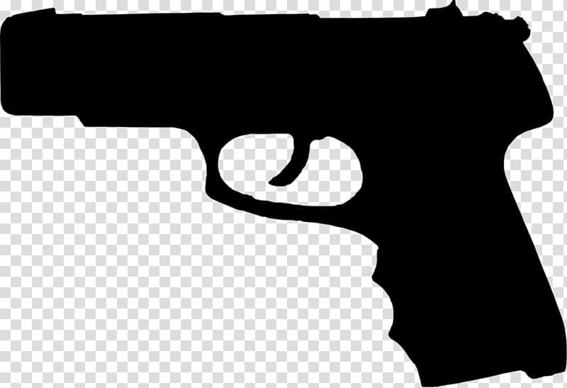 Firearm pistol handgun silhouette. Gun clipart hand gun