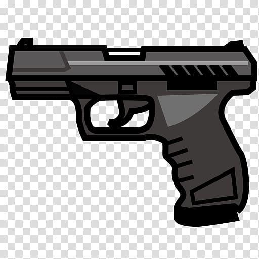 Black pistol emoji firearm. Gun clipart hand gun