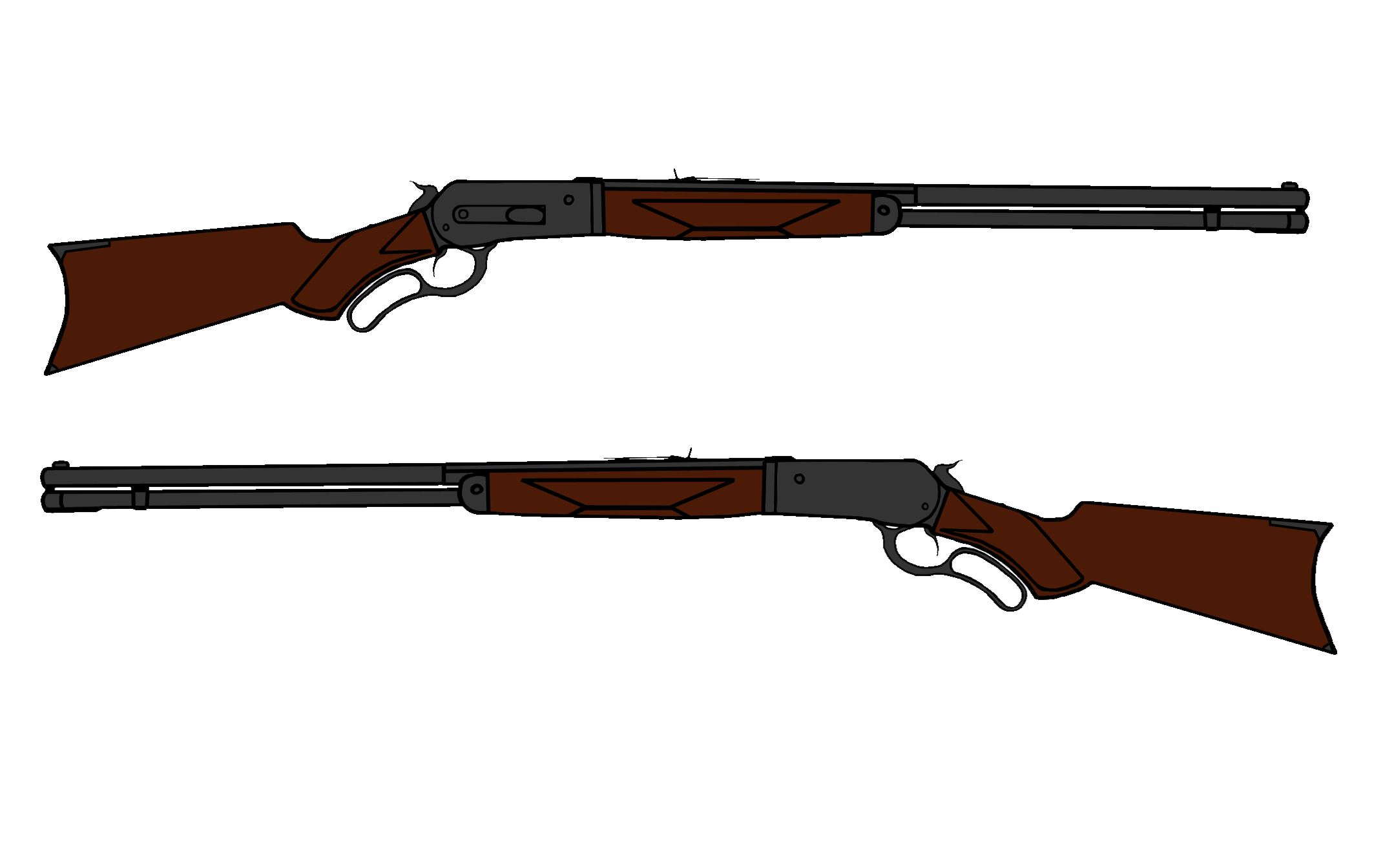 collection of drawing. Gun clipart lever action rifle