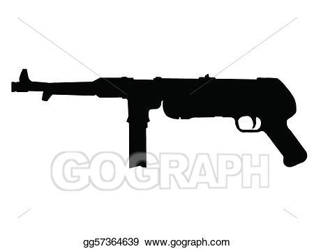 Vector ww sub machine. Pistol clipart ww2 gun
