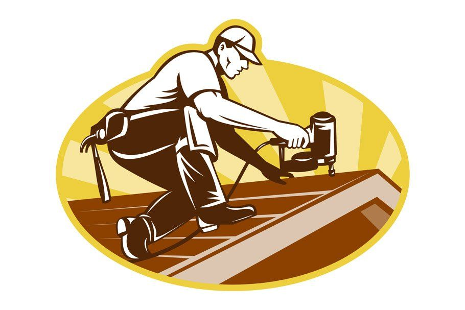 Roofer worker working by. Gun clipart roofing