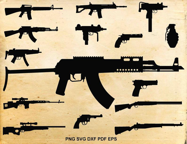 Svg files weapons silhouette. Guns clipart long gun