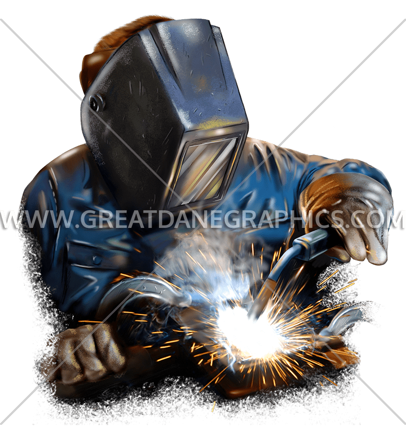 Welder production ready artwork. Welding clipart welding mask