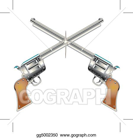 Pistol clipart western. Vector illustration six guns