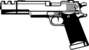 Pistol clipart. Gun black and white