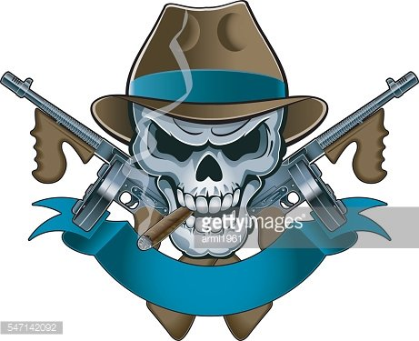 Skull with machine image. Guns clipart gangster