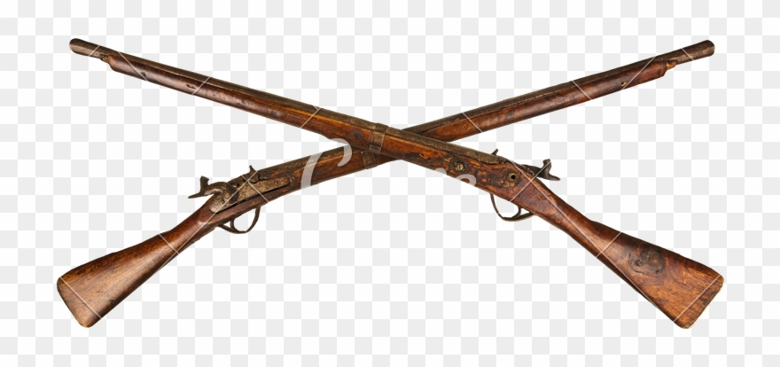 Guns clipart long gun. Two crossed vintage rifles