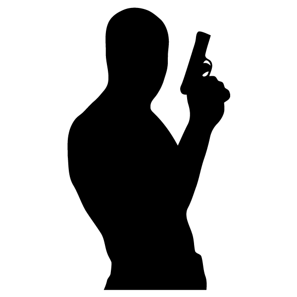 Guns clipart person. Free silhouette cliparts download