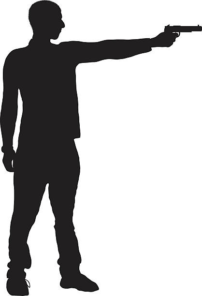 Guns clipart person. Gun black and white