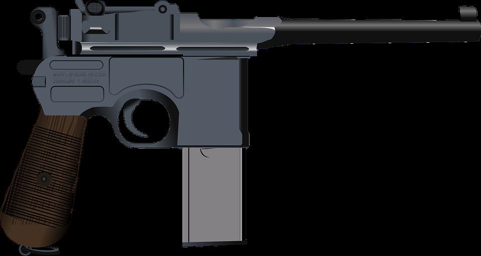 Guns clipart simple. Gun shot smoking pistol