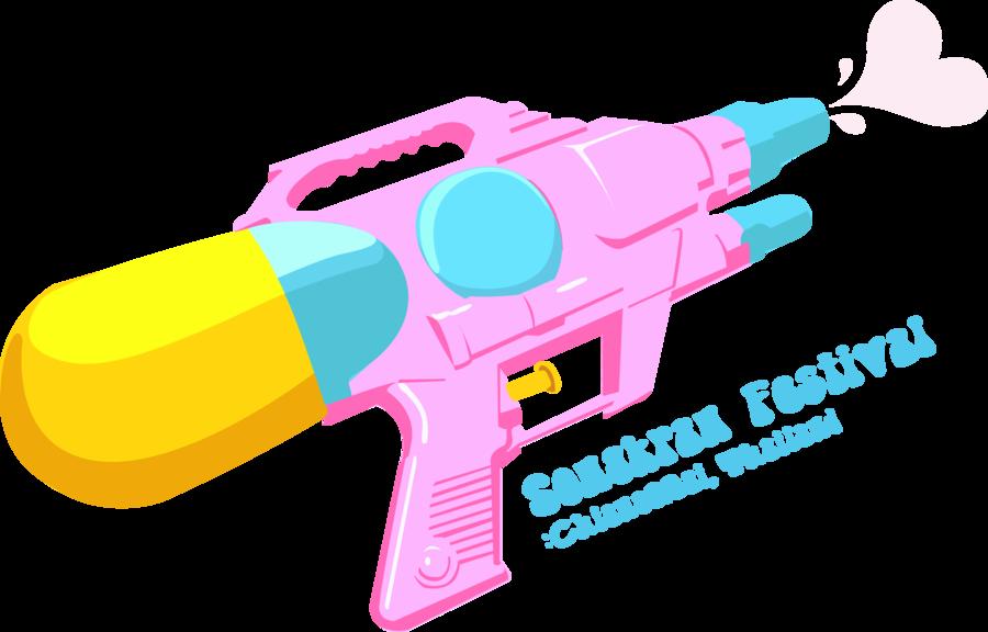Guns clipart water gun. Happy songkran festival by