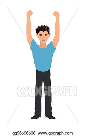Guy clipart arm raised. Eps vector man with