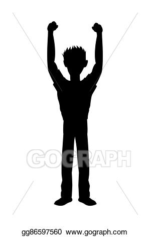 Eps vector man with. Guy clipart arm raised