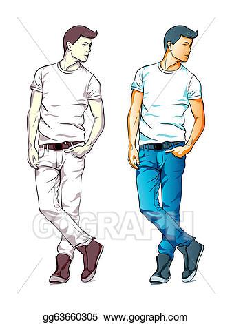 Vector fashion boy illustration. Guy clipart fashionable