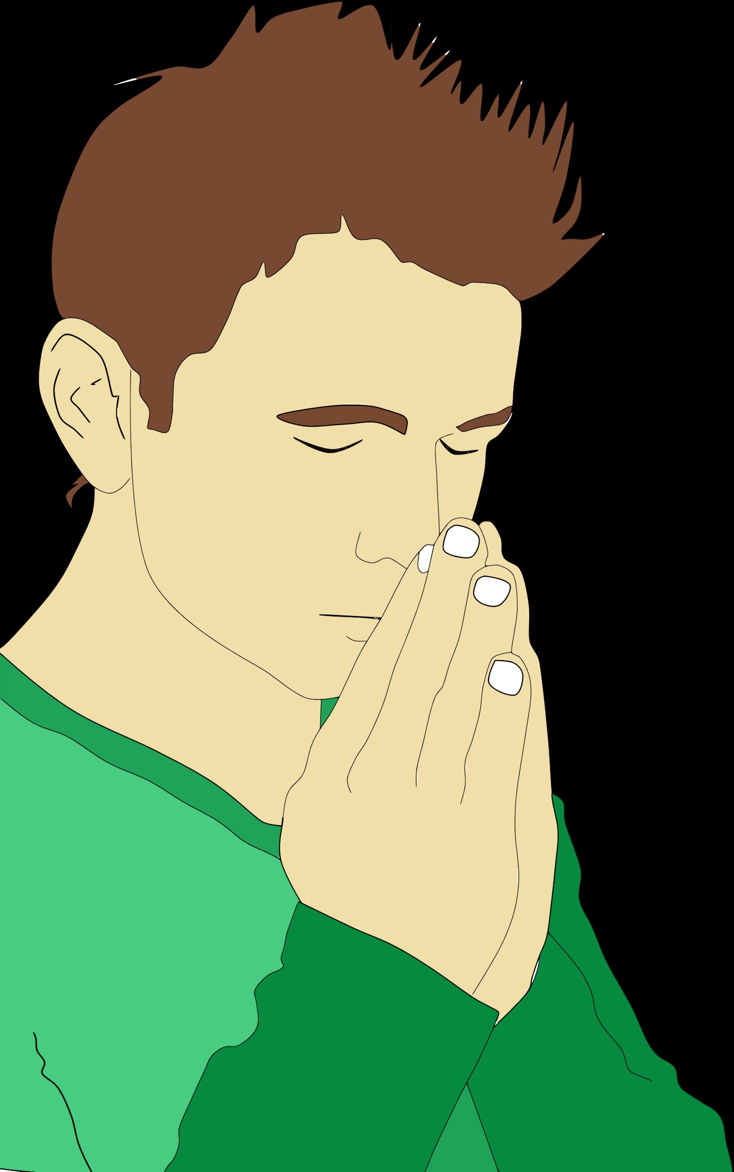 Praying man portrait big. Male clipart realistic person