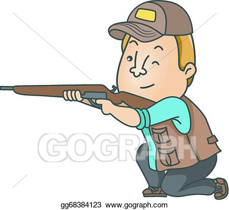 Vector hunter illustration gg. Hunting clipart man hunting