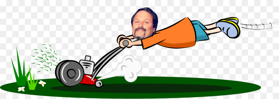 Cartoon cutting lawn mowers. Guy clipart illustration