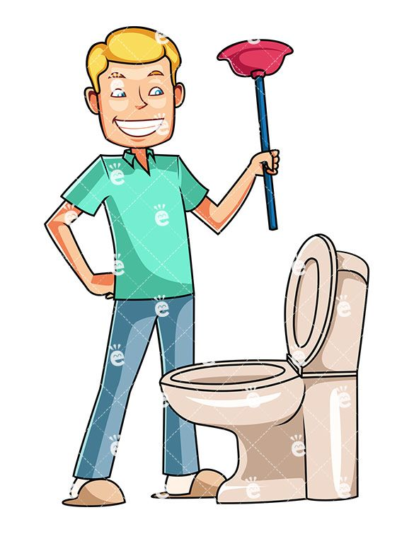 Maid clipart cleaning bathroom. A man looking down