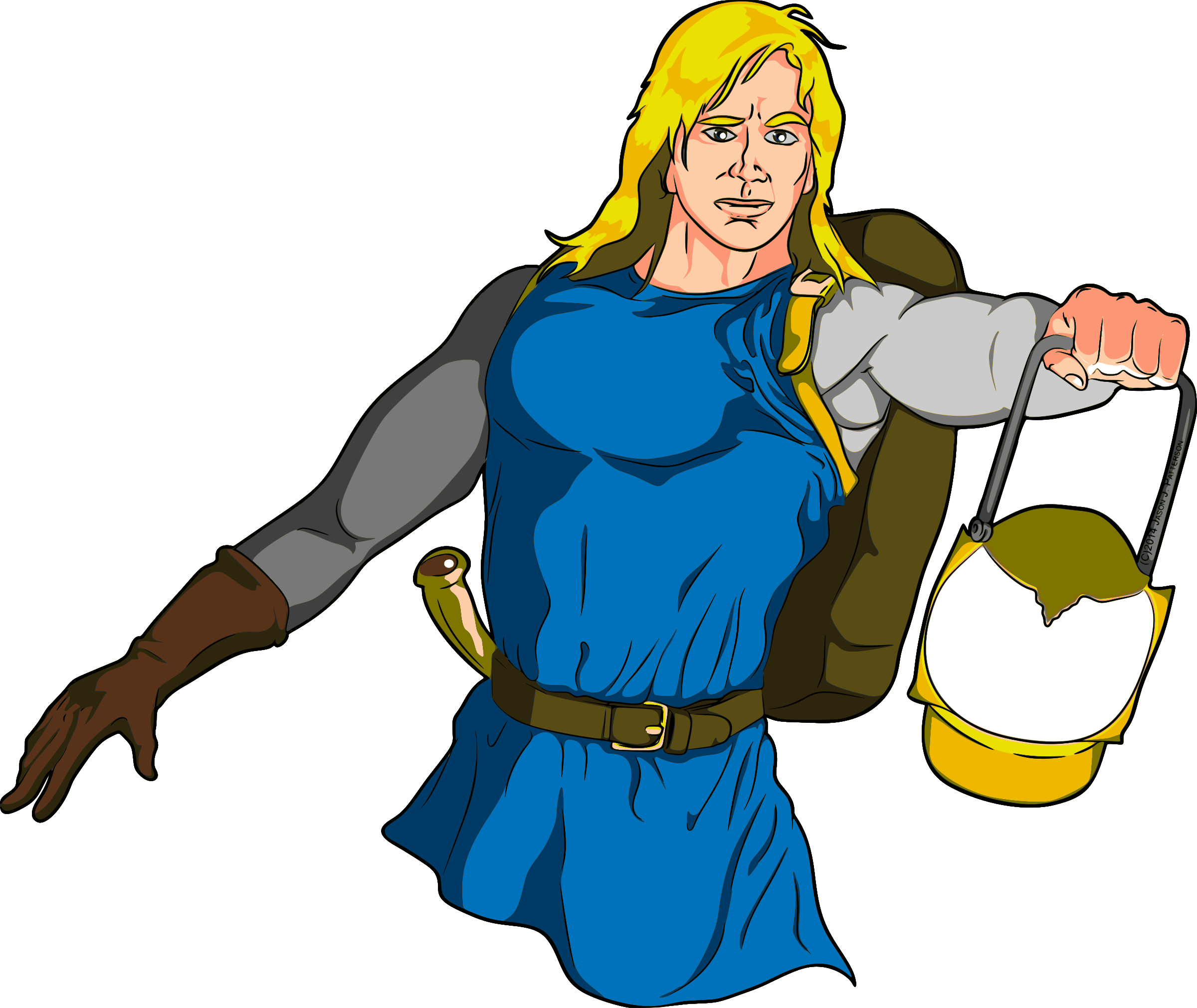 Male adventurer with lantern. Medieval clipart medieval person