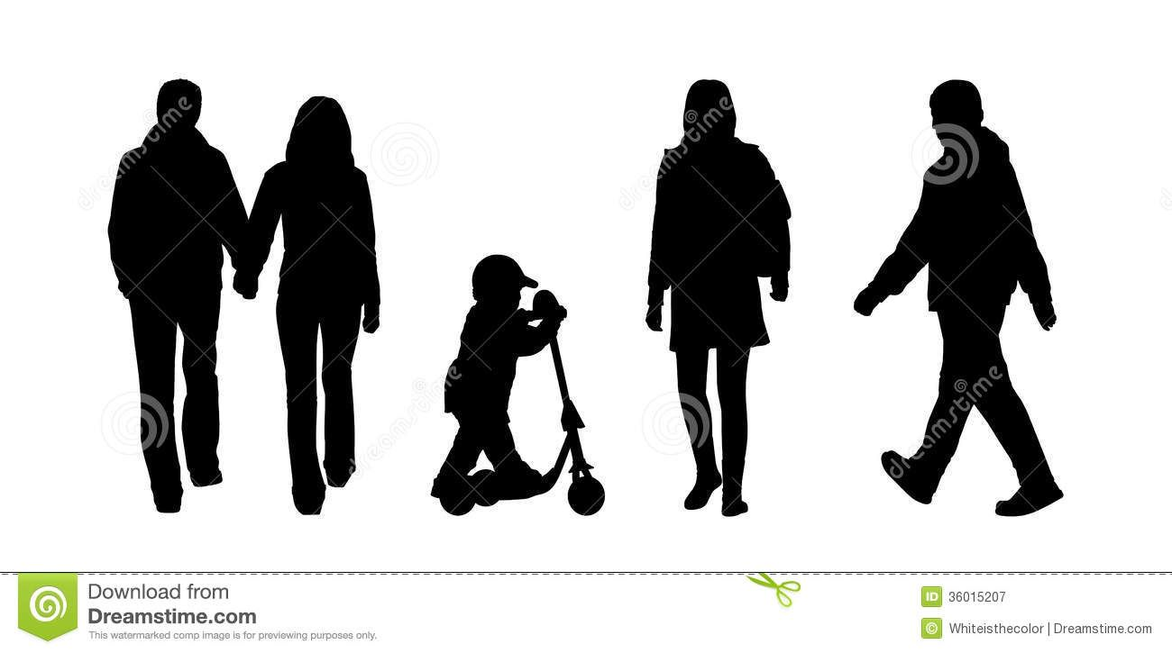 Silhouettes of people walking. Guy clipart ordinary person