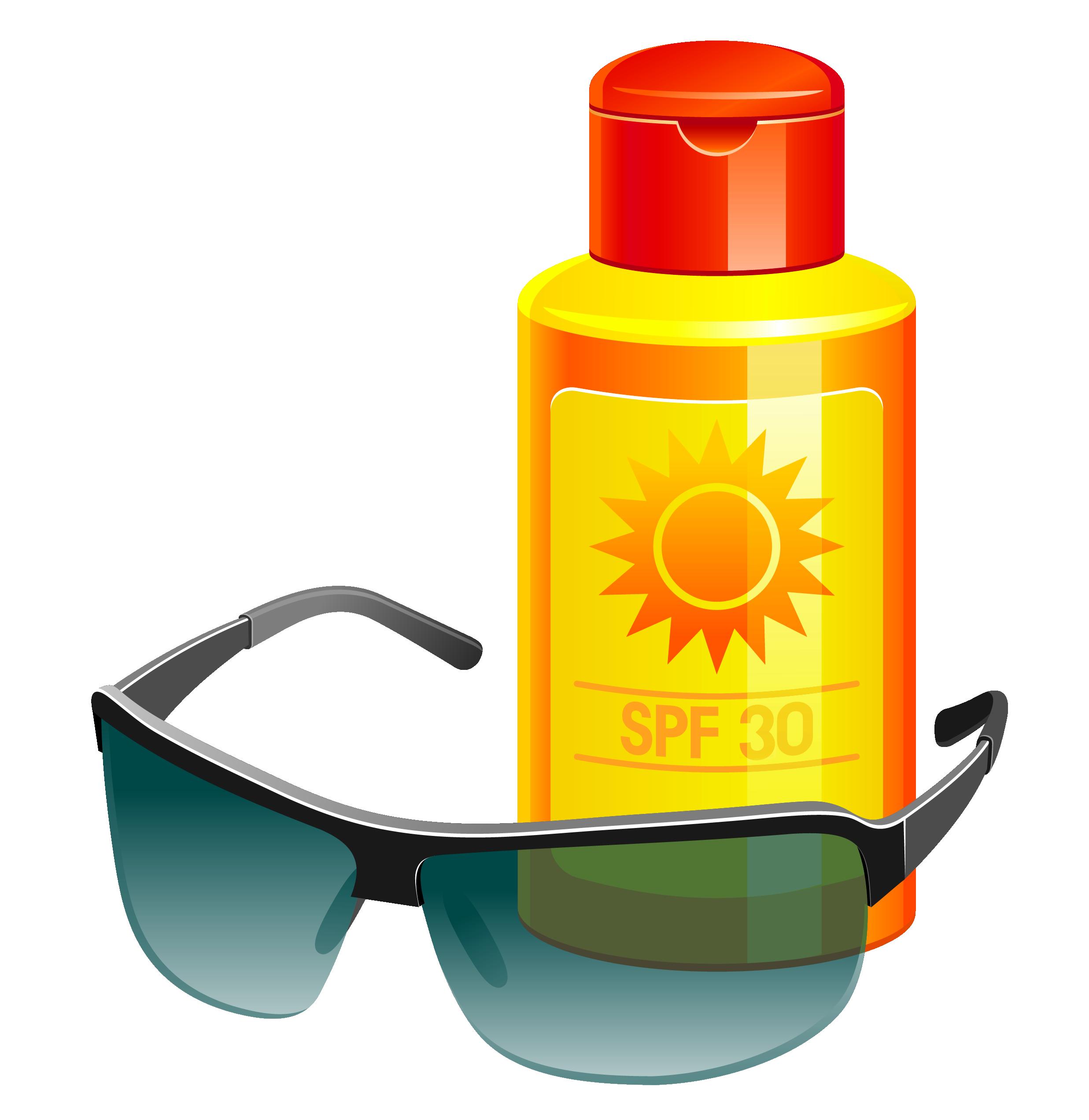 Sunglasses suntan lotion free. Clipart sunshine sunscreen