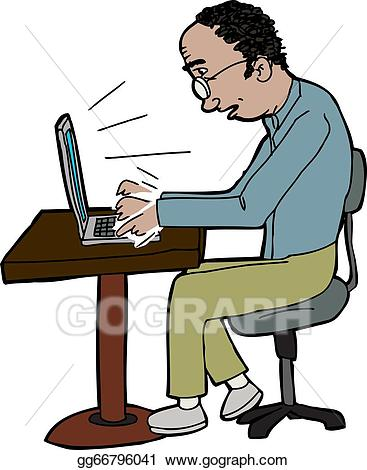Vector art man on. Guy clipart typing