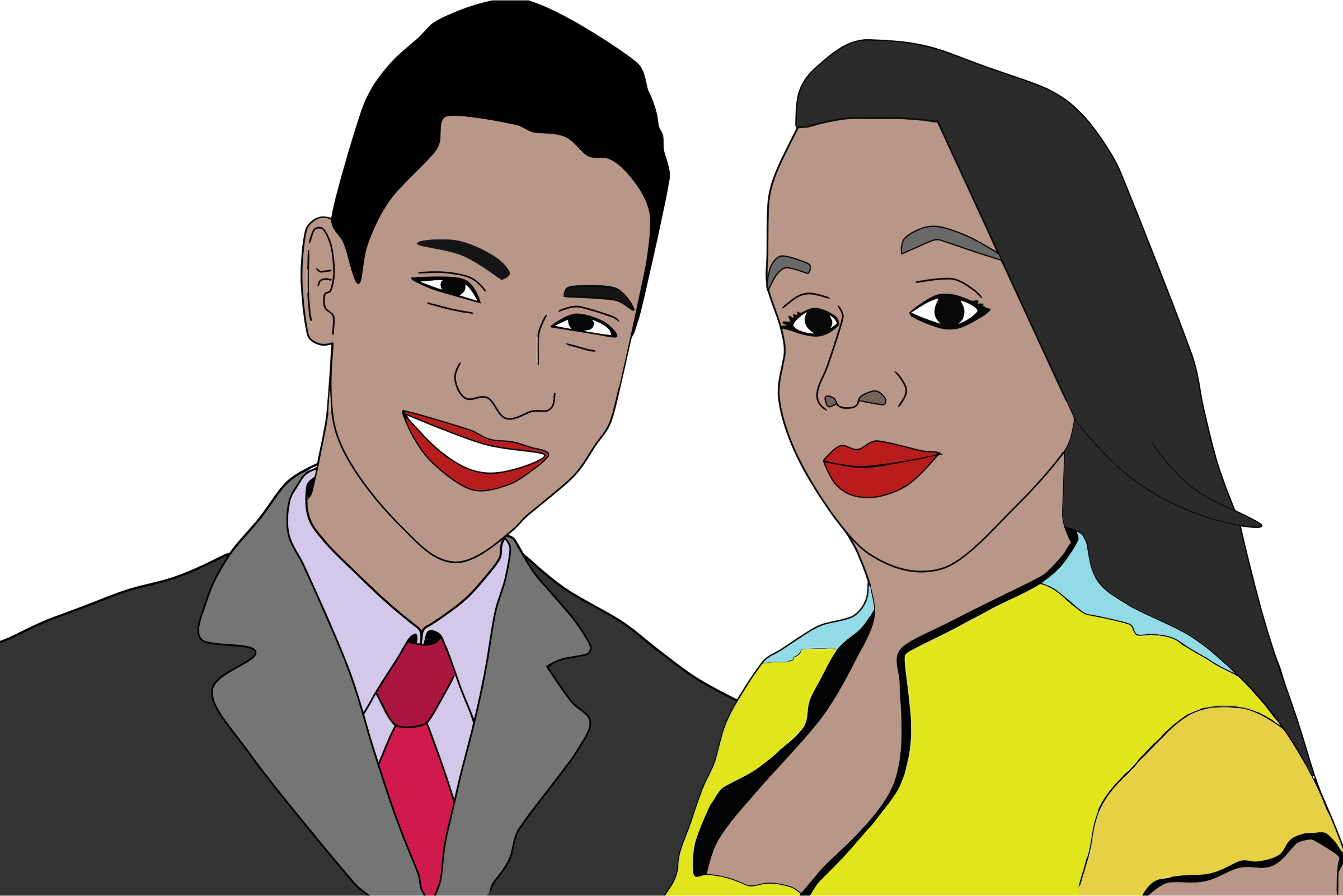 Man and woman witnesses. Male clipart realistic person