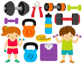 Gym clipart. Fitness digital clip art
