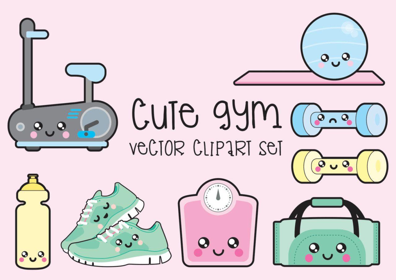 Premium vector kawaii workout. Gym clipart