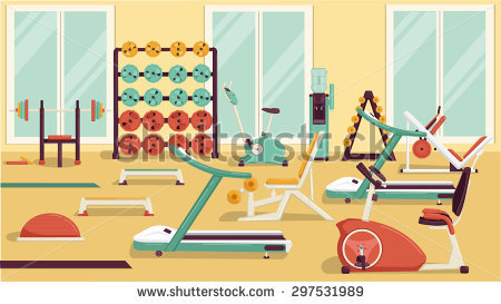 Flat colorful stock vector. Gym clipart